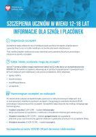 Szczepienia uczniów w wieku 12 18 lat informacje dla szkół i placówek plakat 1