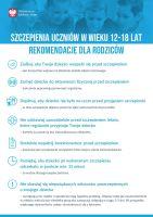 Szczepienia uczniów w wieku 12 18 lat rekomendacje dla rodziców plakat 1